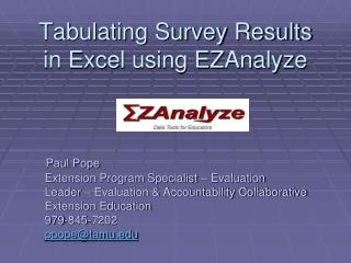 Tabulating Survey Results in Excel using EZAnalyze