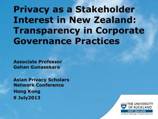 Privacy as a Stakeholder Interest in New Zealand: Transparency in Corporate Governance Practices