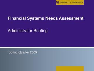 Financial Systems Needs Assessment