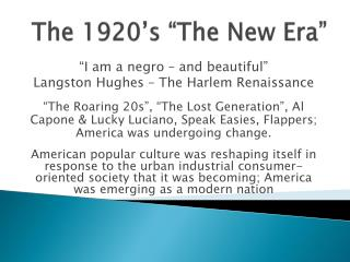 "The 1920's ""The New Era"""