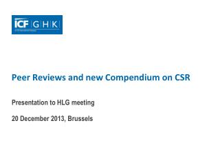 Peer Reviews and new Compendium on CSR