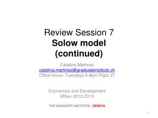 Review Session  7 Solow  model  (continued)
