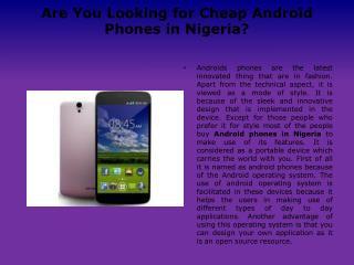 Android Phones in Nigeria