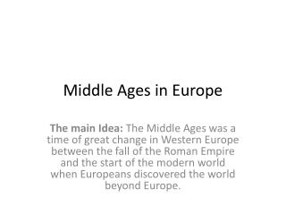 Middle Ages in Europe