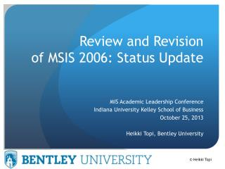 Review and Revision  of MSIS 2006: Status Update