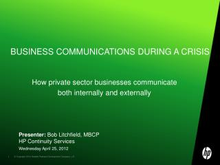 Business Communications during a crisis