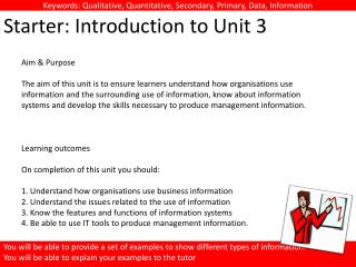 Starter: Introduction to Unit 3