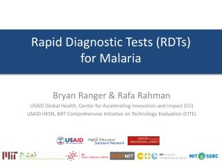 Rapid Diagnostic Tests (RDTs)  for Malaria