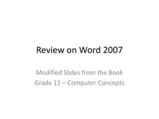 Review on Word 2007
