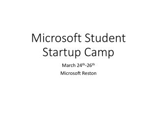 Microsoft Student Startup Camp