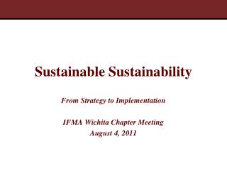 Sustainable Sustainability