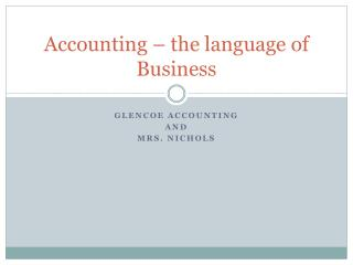 Accounting – the language of Business