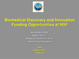Biomedical Discovery and Innovation Funding Opportunities at NSF
