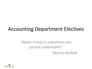 Accounting Department Electives