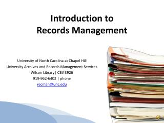 Introduction to  Records Management