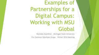 Examples of Partnerships for a Digital  Campus :  Working with MSU Global