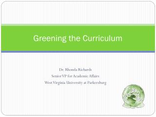 Greening the Curriculum