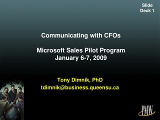 Communicating with CFOs Microsoft Sales  Pilot Program January 6-7, 2009