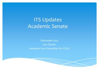 ITS Updates Academic Senate