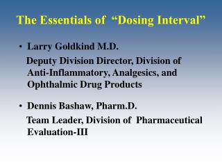 "The Essentials of  ""Dosing Interval"""