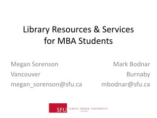 Library Resources & Services  for MBA Students