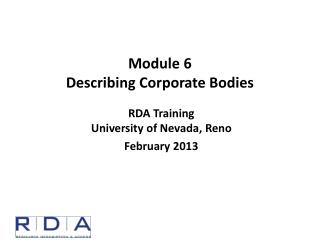 Module  6 Describing Corporate Bodies