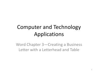 Computer and Technology Applications