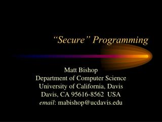 """Secure"" Programming"