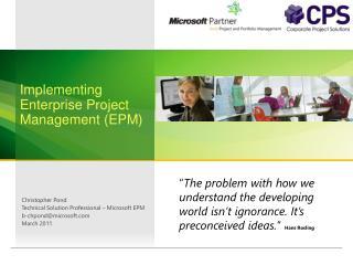 Implementing Enterprise Project Management (EPM)