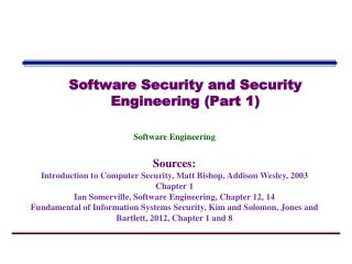 Software  Security and Security Engineering (Part 1)