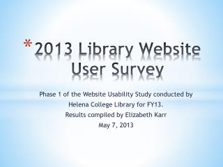 2013 Library Website User Survey