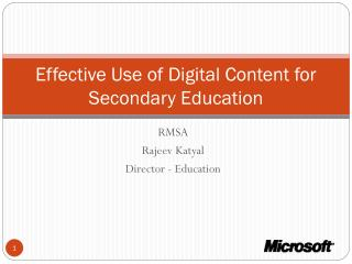 Effective Use of Digital Content for Secondary Education