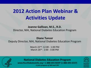 2012 Action Plan Webinar & Activities Update