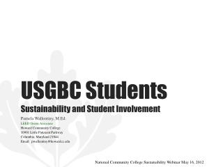 USGBC Students Sustainability and Student Involvement