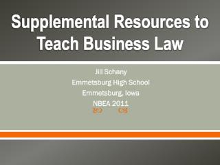 Supplemental Resources to Teach Business Law