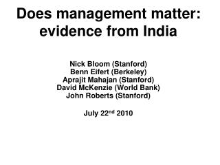 Does management matter: evidence from India