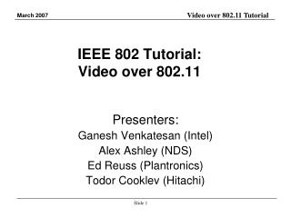 IEEE 802 Tutorial: Video over 802.11