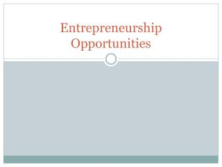 Entrepreneurship Opportunities