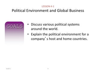 political and legal environment affects business Links to the state department's website for background on the country's political environment last published: 7/12/2017 for background information on the political and economic environment of the country, please click on the link below to view the us department of state background notes.