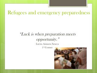 Refugees and emergency preparedness