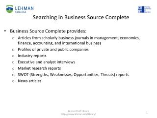 Business Source Complete p rovides :
