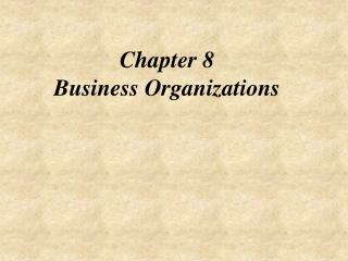 Chapter 8 Business Organizations