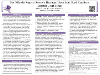 Sex Offender Registry Removal Hearings: Views from North Carolina's  Superior Court Bench Grace  F. Love  &  L. Alvin