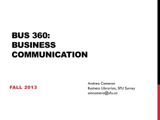 BUS 360:  BUSINESS COMMUNICATION
