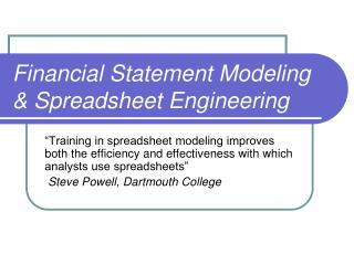 Financial Statement Modeling & Spreadsheet Engineering