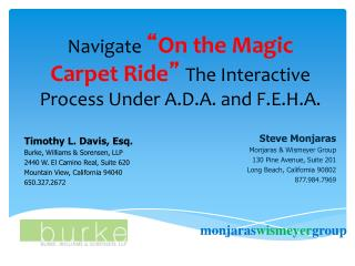 "Navigate  "" On the Magic Carpet Ride "" The Interactive Process Under A.D.A. and F.E.H.A."