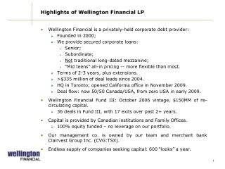 Highlights of Wellington Financial LP