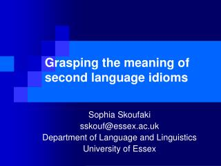 Grasping the meaning of second language idioms