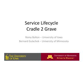 Service Lifecycle  Cradle 2 Grave