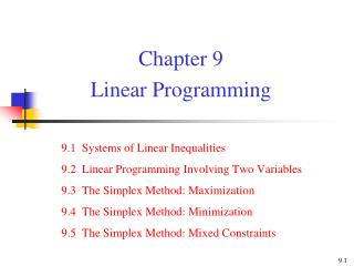 Chapter 9  Linear Programming